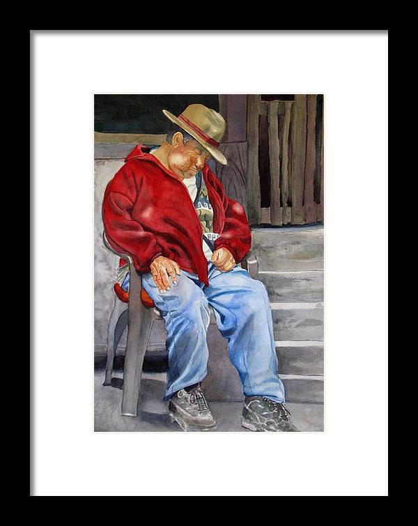 Man Framed Print featuring the painting Old Man Resting by Libby Cagle