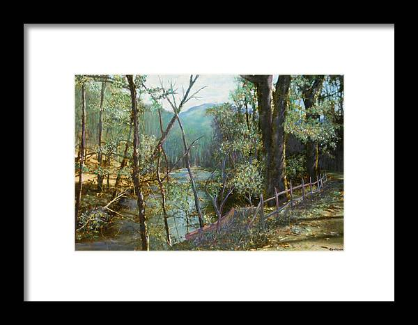 River; Trees; Landscape Framed Print featuring the painting Old Man River by Ben Kiger
