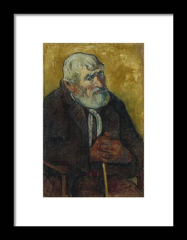 Old Man With A Stick Framed Print featuring the painting Old Man With A Stick by MotionAge Designs