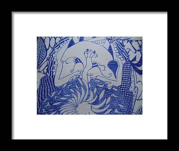 Doodle Framed Print featuring the drawing Old Man With Beard Part I by Modern Metro Patterns and Textiles