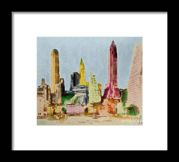 Old Manhattan Framed Print featuring the painting Old Manhattan by Sergey Lukashin