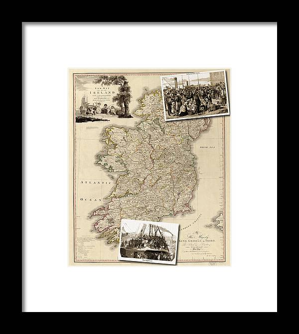 Map Framed Print featuring the photograph Vintage Map Of Ireland With Old Irish Woodcuts by Karla Beatty
