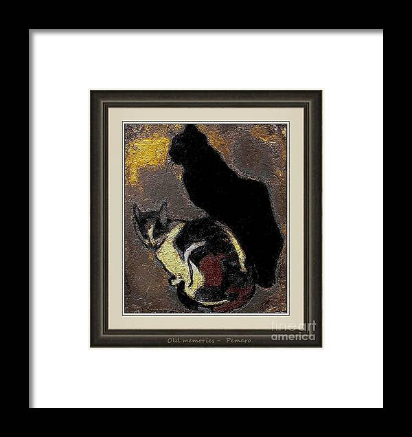 Cats Framed Print featuring the painting Old Memories Om02 by Pemaro