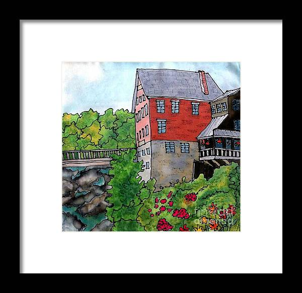 Old Mill Framed Print featuring the painting Old Mill In Bradford by Linda Marcille