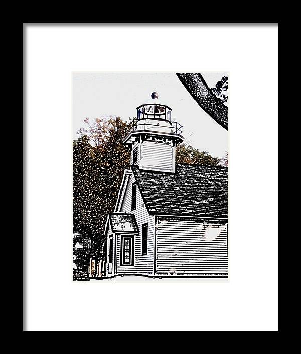 Altered Framed Print featuring the photograph Old Mission Point by Wayne Potrafka