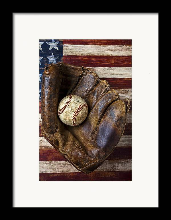 Old Mitt Framed Print featuring the photograph Old Mitt And Baseball by Garry Gay