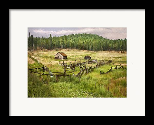 Architecture Framed Print featuring the digital art Old Montana Homestead by Sharon Foster