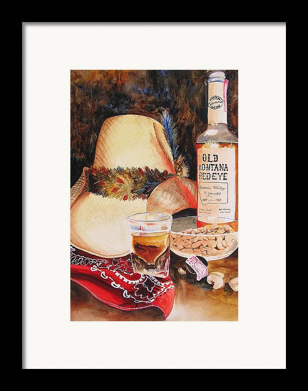 Whiskey Framed Print featuring the painting Old Montana Red Eye by Karen Stark