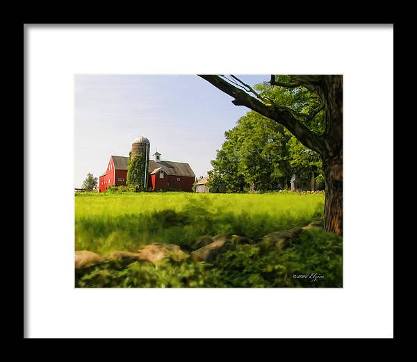 Farm Framed Print featuring the painting Old New England Farm by Elzire S