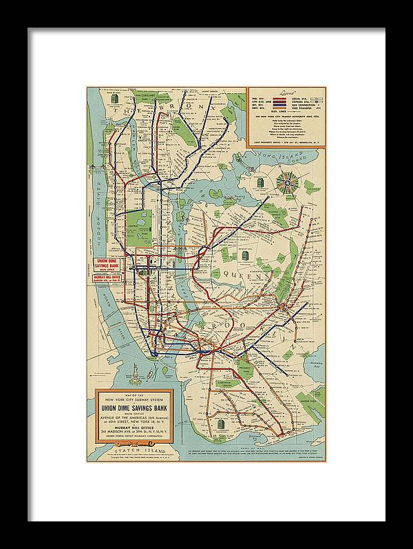 Framed New York Subway Map.Old New York City Subway Map By Stephen Voorhies 1954 Framed Print