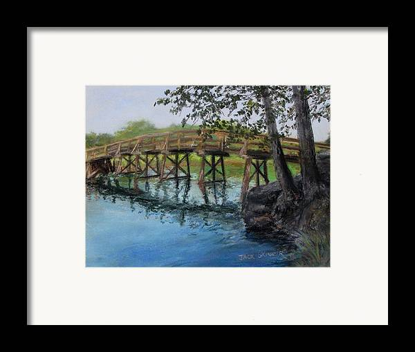Pastel Framed Print featuring the painting Old North Bridge In Pastel by Jack Skinner