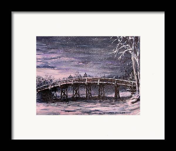 Old North Bridge Framed Print featuring the painting Old North Bridge In Winter by Jack Skinner