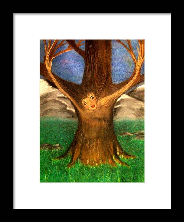 Pastel Framed Print featuring the pastel Old Oak Tree by Misty VanPool