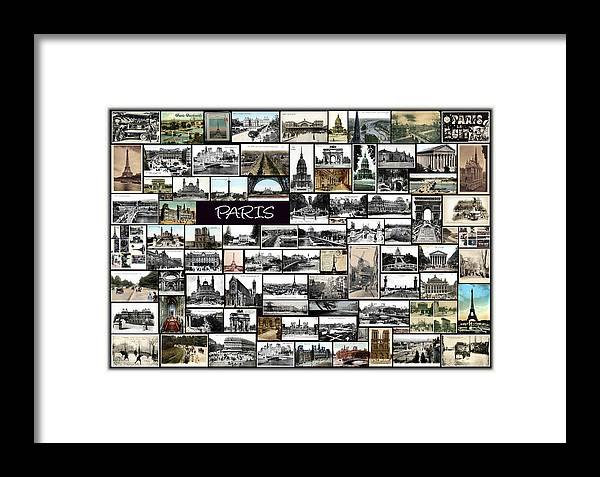 Old Paris Framed Print featuring the pyrography Old Paris Collage by Janos Kovac