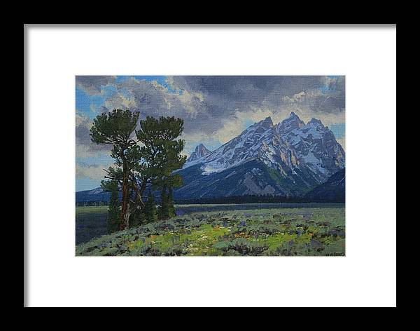 Landscape Framed Print featuring the painting Old Patriarch by Lanny Grant