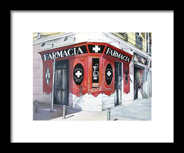 Pharmacy Framed Print featuring the painting Old Pharmacy by Tomas Castano