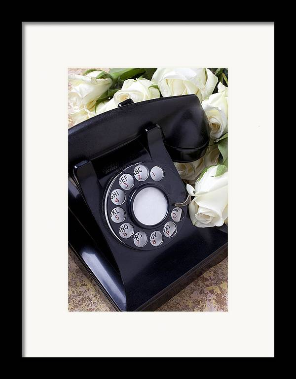 Old Framed Print featuring the photograph Old Phone And White Roses by Garry Gay