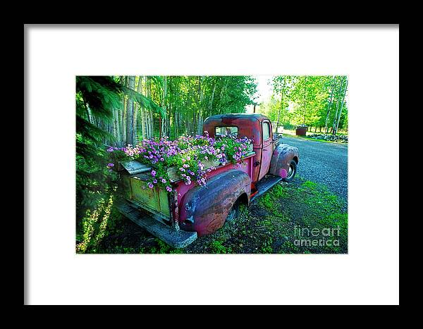 Pickup Truck Framed Print featuring the photograph Old Pickup Truck As Flower Bed by David Arment