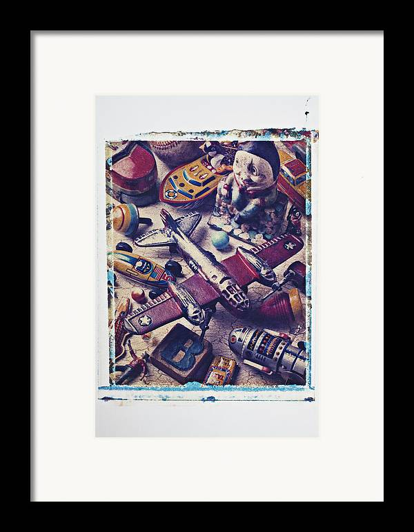 Toy Framed Print featuring the photograph Old Plane And Other Toys by Garry Gay
