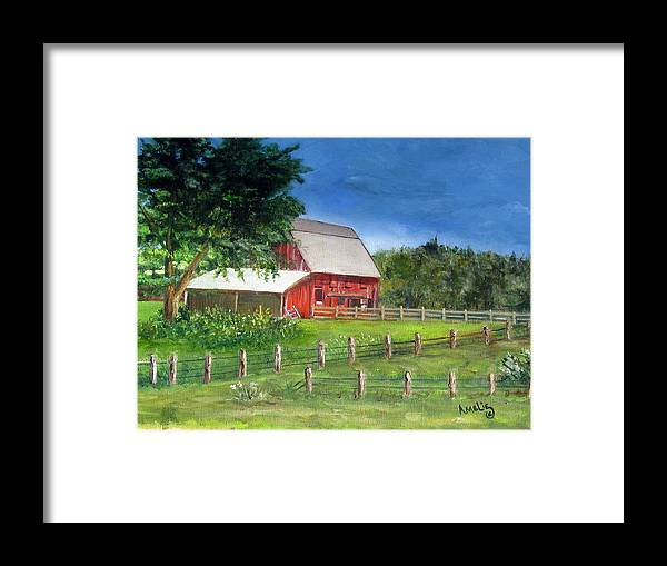 Barn Framed Print featuring the painting Old Red Barn by Amelie Gates