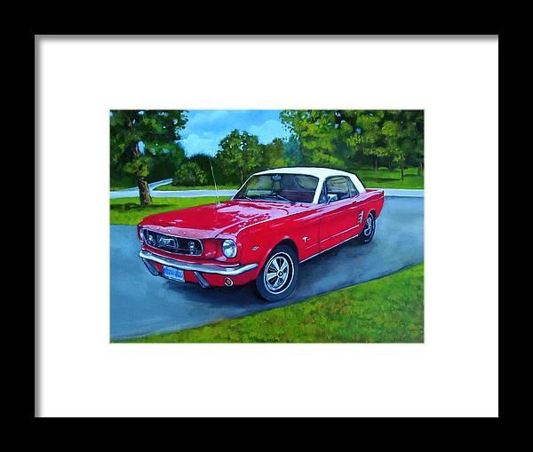 Old Red Mustang Car Framed Print by Joyce Geleynse