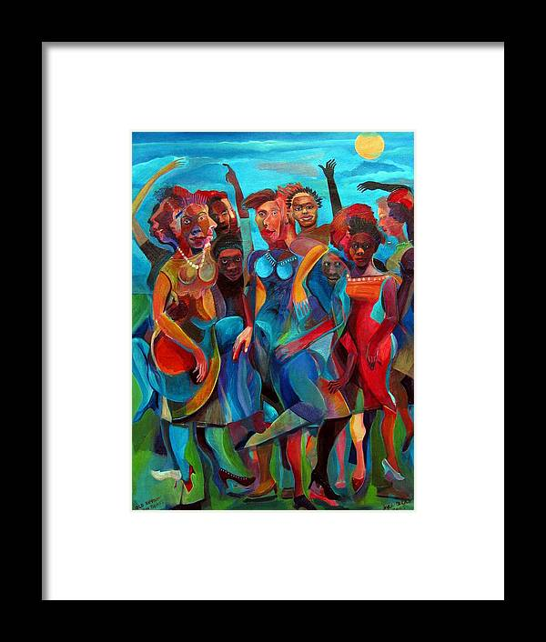 Figures Framed Print featuring the painting Old Rhythms New Beats by Joyce Owens