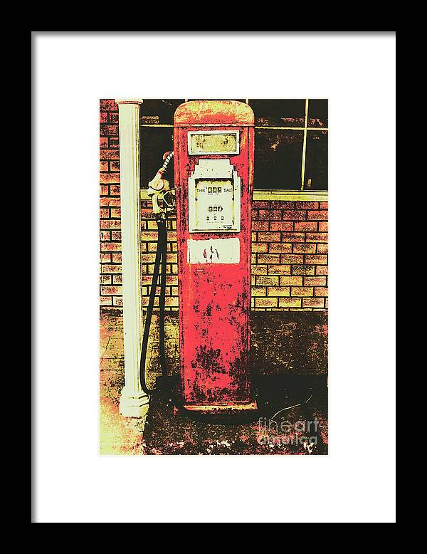 Petrol Framed Print featuring the photograph Old Roadhouse Gas Station by Jorgo Photography - Wall Art Gallery