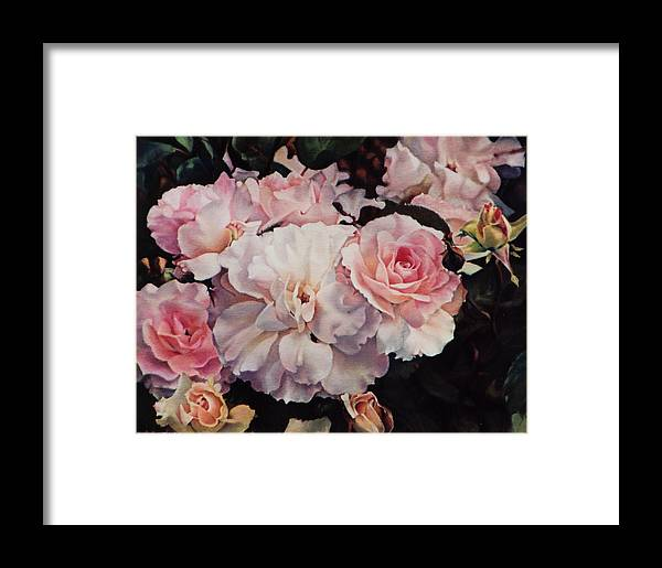 Flowers Framed Print featuring the painting Old Roses by Marion Hylton