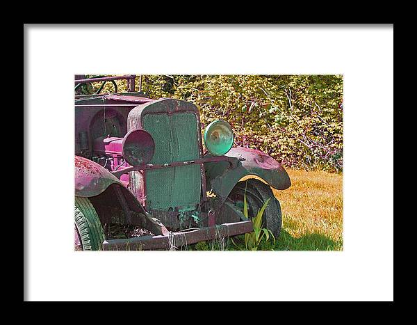 Old Truck Framed Print featuring the photograph Old Rusty Truck C1002 by Mary Gaines