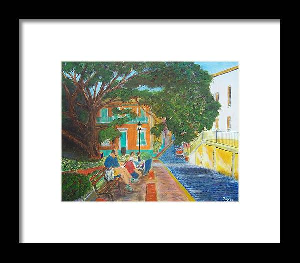 Landscape Framed Print featuring the painting Old San Juan Street Scene by Tony Rodriguez