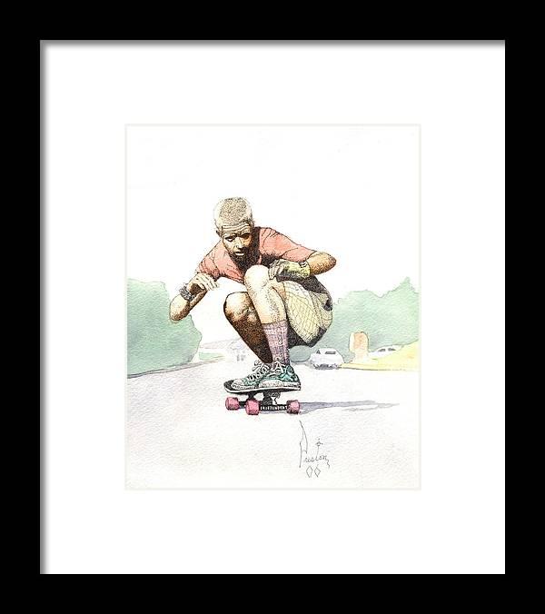 Duane Peters Skateboard Art Old School Nhs Santa Cruz Punk Skater Skateboarder Thrasher Framed Print featuring the painting Old School Skater by Preston Shupp