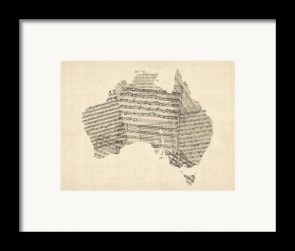 Australia Map Framed Print featuring the digital art Old Sheet Music Map Of Australia Map by Michael Tompsett