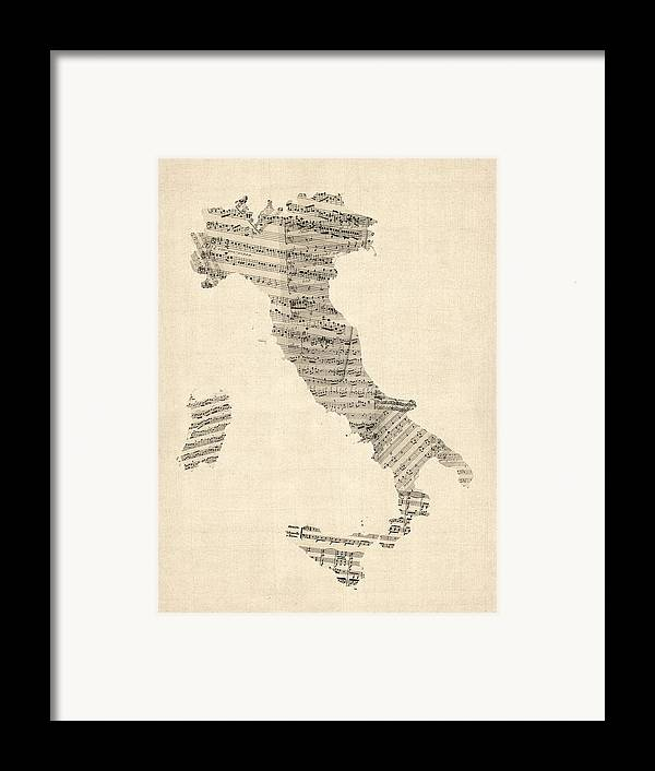Italy Map Framed Print featuring the digital art Old Sheet Music Map Of Italy Map by Michael Tompsett