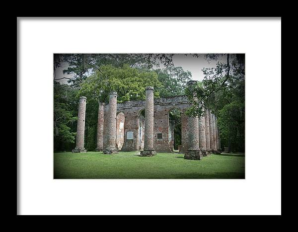 Old Sheldon Vignetted Framed Print featuring the photograph Old Sheldon Vignette by Christine Negron