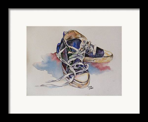 Framed Print featuring the painting Old Shoes by Diane Ziemski