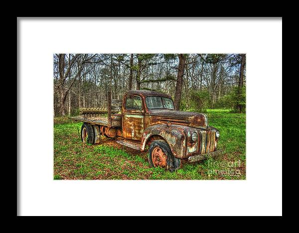 Reid Callaway 1947 Ford Stakebed Pickup Truck Framed Print featuring the photograph Old Still Art 1947 Ford Stakebed Pickup Truck Ar by Reid Callaway