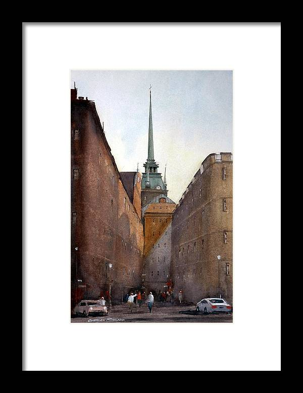 Stockhlolm Swedes Framed Print featuring the painting Old Stockholm by Charles Rowland