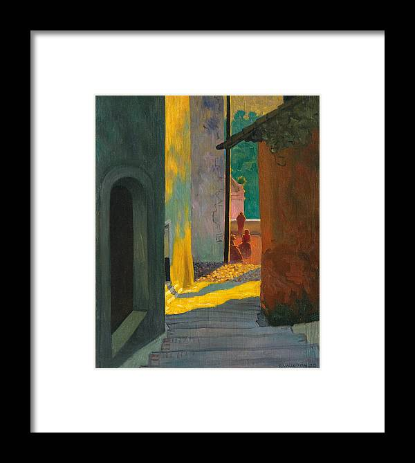 Old Street In Cagnes. Sunset Framed Print by Felix Vallotton