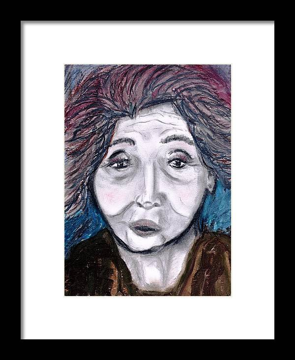 Face Framed Print featuring the drawing Old Suchi by JuneFelicia Bennett