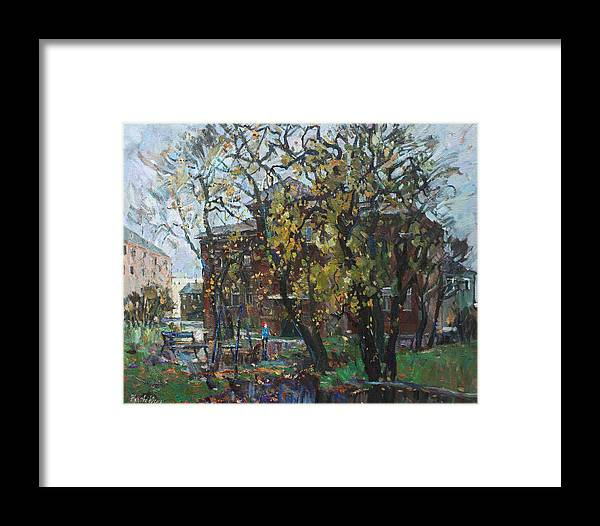Cityscape Framed Print featuring the painting Old Swings by Juliya Zhukova