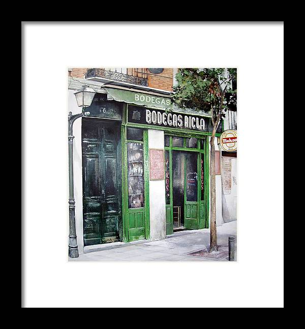 Bodegas Framed Print featuring the painting Old Tavern-madrid by Tomas Castano