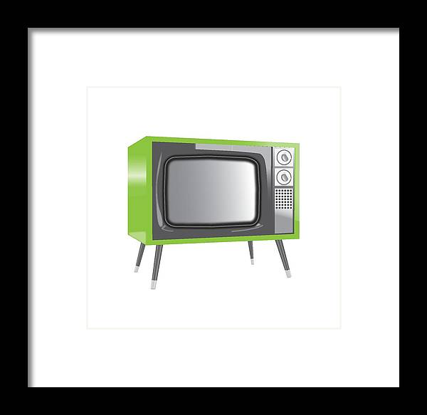 Framed Print featuring the digital art Old Television by Jamie Selestewa