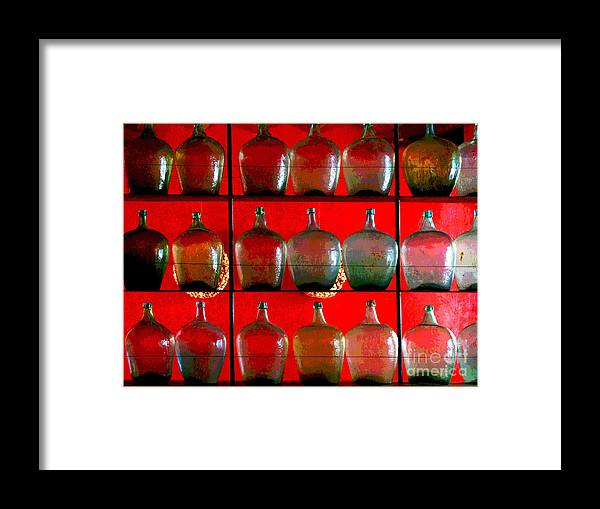 Darian Day Framed Print featuring the photograph Old Tequila Jugs By Darian Day by Mexicolors Art Photography