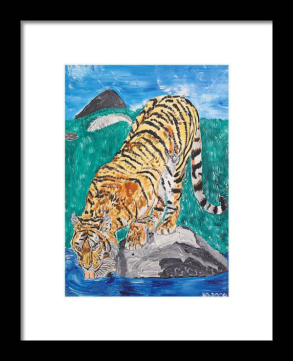 Cat Framed Print featuring the painting Old Tiger Drinking by Valerie Ornstein