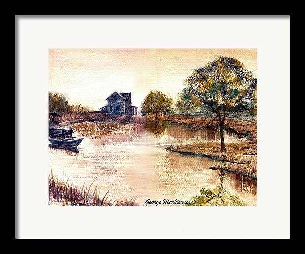 Water Landscape Framed Print featuring the print Old Time Mural by George Markiewicz