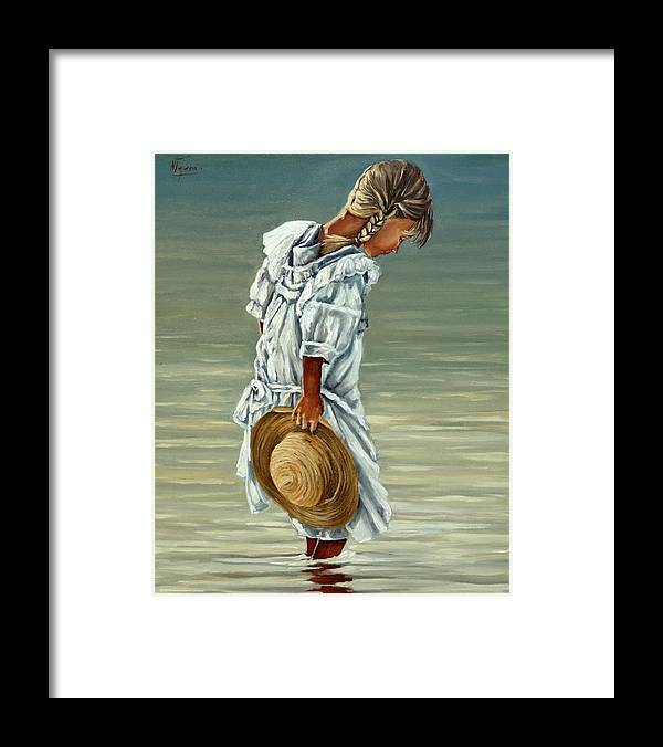 Little Girl Framed Print featuring the painting Old times by Natalia Tejera