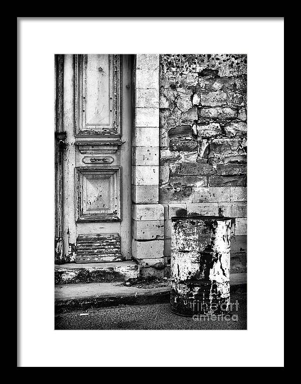 Black And White Framed Print featuring the photograph Old Town Limassol Black And White by John Rizzuto