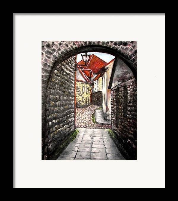 Town Framed Print featuring the painting Old Town Oil Paining by Natalja Picugina