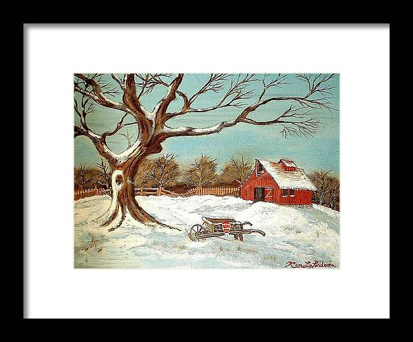 Old Tree Barn Wheelbarrow Snow Winter Painting Framed Print featuring the painting Old Tree And Barn by Kenneth LePoidevin