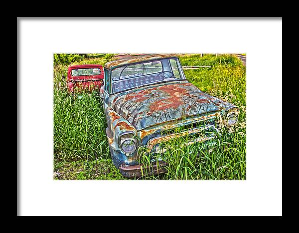 Transportation Framed Print featuring the photograph 001 - Old Trucks by David Ralph Johnson